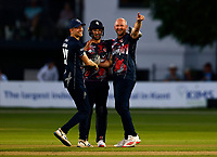 Darren Stevens (R) of Kent celebrates taking the wicket of Eoin Morgan during Kent Spitfires vs Middlesex, Vitality Blast T20 Cricket at The Spitfire Ground on 11th June 2021