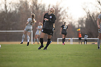LOUISVILLE, KY - MARCH 13: Lauren Milliet #2 of Racing Louisville FC reacts to a missed goal during a game between West Virginia University and Racing Louisville FC at Thurman Hutchins Park on March 13, 2021 in Louisville, Kentucky.