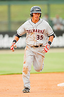 Jeremy Nowak #35 of the Delmarva Shorebirds rounds the bases after hitting a 2-run home run against the Kannapolis Intimidators at Fieldcrest Cannon Stadium on August 6, 2011 in Kannapolis, North Carolina.  The Intimidators defeated the Shorebirds 14-6.   (Brian Westerholt / Four Seam Images)