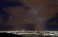 Aug. 20, 2012; Phoenix, AZ, USA: lightning storm monsoon rain Tempe Chandler city night  South Mountain Mandatory Credit: Mark J. Rebilas