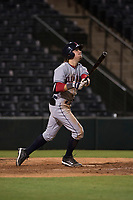 AZL Indians 2 shortstop Raynel Delgado (32) follows through on his swing during an Arizona League game against the AZL Angels at Tempe Diablo Stadium on June 30, 2018 in Tempe, Arizona. The AZL Indians 2 defeated the AZL Angels by a score of 13-8. (Zachary Lucy/Four Seam Images)