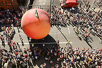 Pictured: Saturday 17 September 2016<br /> Re: Roald Dahl's City of the Unexpected has transformed Cardiff City Centre into a landmark celebration of Wales' foremost storyteller, Roald Dahl, in the year which celebrates his centenary.<br /> The Giant Peach makes its way down Westgate Street.