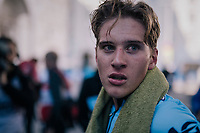 Ilan Van Wilder (BEL)<br /> <br /> post-race battlefield in the finish zone<br /> <br /> MEN JUNIOR INDIVIDUAL TIME TRIAL<br /> Hall-Wattens to Innsbruck: 27.8 km<br /> <br /> UCI 2018 Road World Championships<br /> Innsbruck - Tirol / Austria