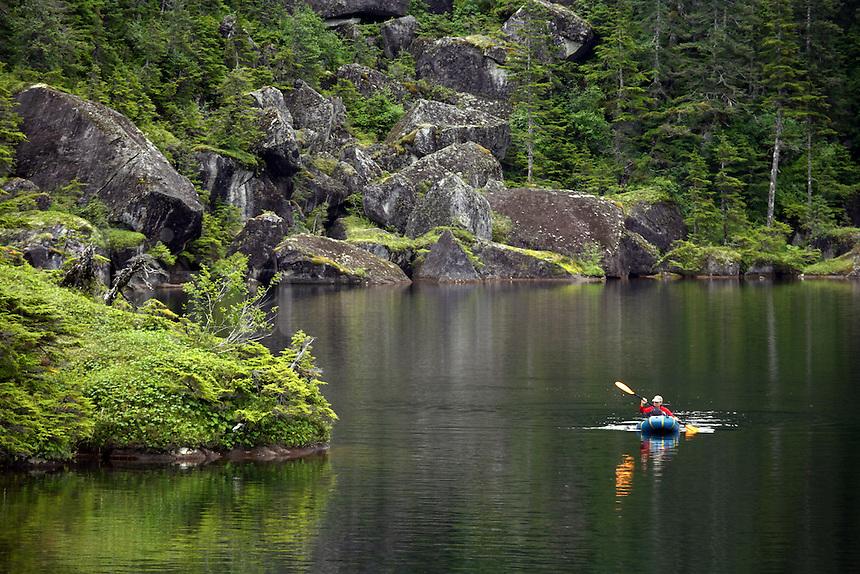 Rafting an unnamed lake on Culross Island, Prince William Sound, Chugach National Forest, Alaska.