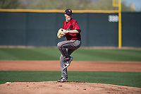 Arizona Diamondbacks starting pitcher Matt Tabor (31) prepares to deliver a pitch during a Spring Training game against Meiji University at Salt River Fields at Talking Stick on March 12, 2018 in Scottsdale, Arizona. (Zachary Lucy/Four Seam Images)