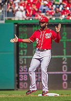 28 September 2014: Washington Nationals outfielder Denard Span stands safe at second after hitting his team record setting 184th hit of the season during play against the Miami Marlins at Nationals Park in Washington, DC. The Nationals shut out the Marlins 1-0, caping the season with the first Nationals no-hitter in modern times. The win also notched a 96 win season for the Nats: the best record in the National League. Mandatory Credit: Ed Wolfstein Photo *** RAW (NEF) Image File Available ***