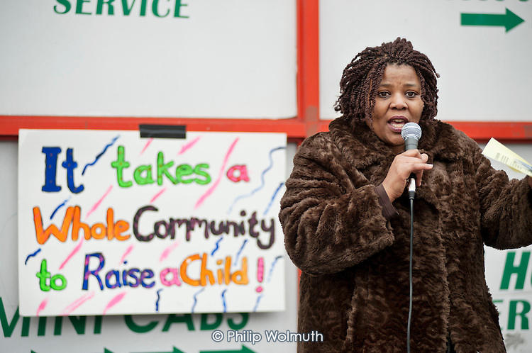 Angela Singhate, Chair of Queens' Park Neighbourhood Forum.  Community Rally organised by the Tell It Parents' Action Group to launch a campaign aimed at addressing the problem of gang violence in North Westminster.