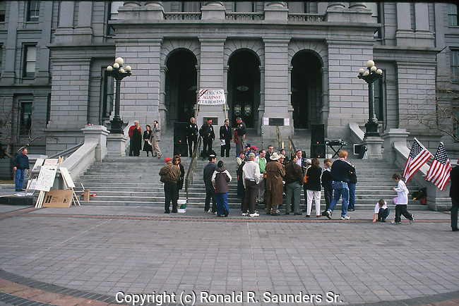 PEOPLE GATHER FOR PRO-WAR RALLY IN DENVER COLORADO