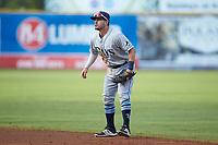 Princeton Rays second baseman Jake Palomaki (1) on defense against the Pulaski Yankees at Calfee Park on July 14, 2018 in Pulaski, Virginia. The Rays defeated the Yankees 13-1.  (Brian Westerholt/Four Seam Images)