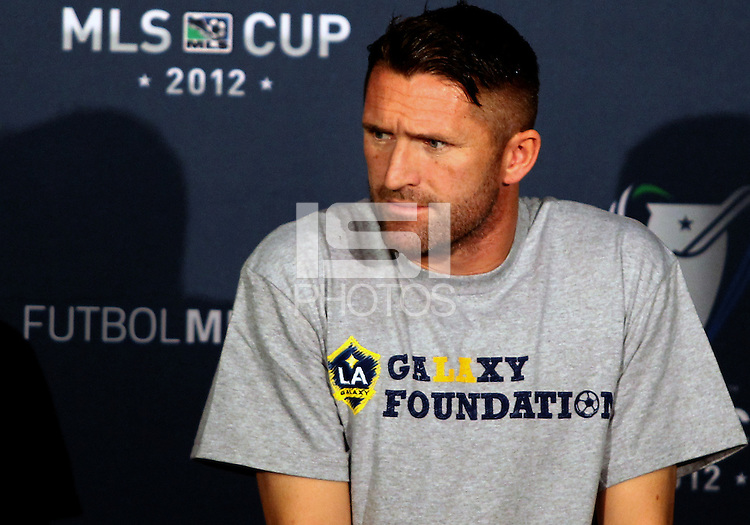 CARSON, CA - NOVEMBER 30, 2012:  Robbie Keane (7) of the Los Angeles Galaxy during a press conference at Home Depot Center, in Carson, CA, before the 2012 MLS Cup, on November 30, 2012.