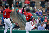 Rochester Red Wings LaMonte Wade Jr (4) high fives Brent Rooker (19) after hitting a home run during an International League game against the Charlotte Knights on June 16, 2019 at Frontier Field in Rochester, New York.  Rochester defeated Charlotte 11-5 in the first game of a doubleheader that was a continuation of a game postponed the day prior due to inclement weather.  (Mike Janes/Four Seam Images)