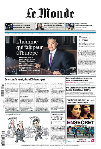 Le Monde (main French daily): .Hungarian prime minister Viktor Orban, 02.2012.Pictures: Martin Fejer