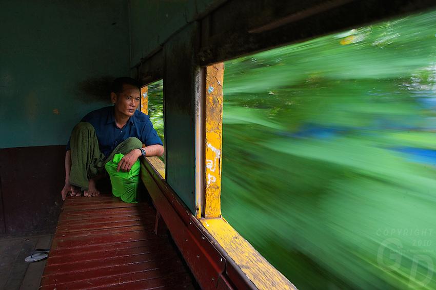 On the train near Yangon Train Station, Myanmar