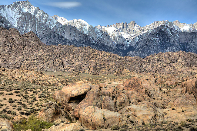 A VIEW OF MT. WHITNEY, THE HIGHEST PEAK IN THE CONTINENTAL UNITED STATES, FROM THE ALABAMA HILLS NEAR LONE PINE CALIFORNIA