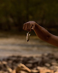 May 4, 2018. Fayetteville, North Carolina.<br /> <br /> D'Anthony Brown holds a caught bait fish at the William O Huske Dam. This is the dam closest to the Chemours plant.<br /> <br /> The Chemours Company, a spin off from DuPont, manufactures many chemicals at its plant in Fayetteville, NC. One of these, commonly referred to as GenX, is part of the process of teflon manufacturing. Chemours has been accused of dumping large quantities of GenX into the Cape Fear River and polluting the water supply of city's down river and allowing GenX to leak into local aquifers.