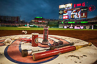 20 May 2014: Washington Nationals Batting Gear is set in the on deck circle during a game against the Cincinnati Reds at Nationals Park in Washington, DC. The Nationals defeated the Reds 9-4 to take the second game of their 3-game series. Mandatory Credit: Ed Wolfstein Photo *** RAW (NEF) Image File Available ***