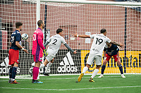 FOXBOROUGH, MA - APRIL 17: Juan Pablo Monticelli #2 of Richmond Kickers and Hernan Gonzalez #19 of Richmond Kickers celebrate the Richmond second goal during a game between Richmond Kickers and Revolution II at Gillette Stadium on April 17, 2021 in Foxborough, Massachusetts.
