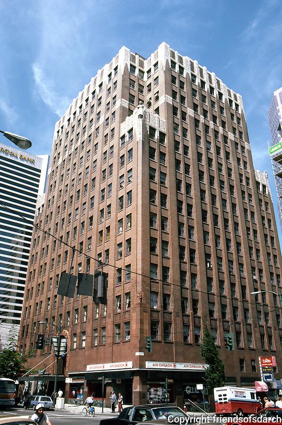 Vancouver: Georgia Medical-Dental Building, McCarter & Nairn.  1929. 15 storeys. Bricks gradually lighten as they ascend. Demolished in 1989 (not earthquake safe). Art Deco.