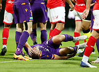 18th April 2021; HBF Park, Perth, Western Australia, Australia; A League Football, Perth Glory versus Wellington Phoenix; Carlo Armiento of the Perth Glory writhes in pain after a heavy tackle felled him in the box but no foul given