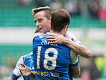 Celtic v St Johnstone …26.08.17… Celtic Park… SPFL<br />Steven MacLean gets a well done from Paul Paton at full time<br />Picture by Graeme Hart.<br />Copyright Perthshire Picture Agency<br />Tel: 01738 623350  Mobile: 07990 594431