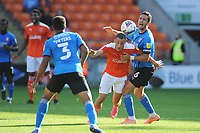 Blackpool's Jerry Yates vies for possession with Swindon Town's Mathieu Baudry<br /> <br /> Photographer Kevin Barnes/CameraSport<br /> <br /> The EFL Sky Bet League One - Blackpool v Swindon Town - Saturday 19th September 2020 - Bloomfield Road - Blackpool<br /> <br /> World Copyright © 2020 CameraSport. All rights reserved. 43 Linden Ave. Countesthorpe. Leicester. England. LE8 5PG - Tel: +44 (0) 116 277 4147 - admin@camerasport.com - www.camerasport.com