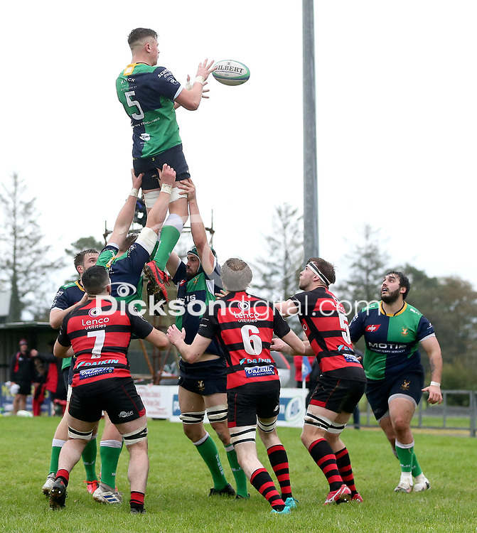 Saturday 3rd October 2020   Hinch vs Armagh<br /> <br /> Bradley Luney secures this lineout for Ballynahinch during their Ulster Senior League clash against Armagh at Ballymacarn Park, Ballynahinch, County Down, Northern Ireland. Photo by John Dickson / Dicksondigital
