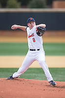 Bucknell Bison starting pitcher Andrew Andrechik (8) in action against the Georgetown Hoyas at Wake Forest Baseball Park on February 14, 2015 in Winston-Salem, North Carolina.  The Hoyas defeated the Bison 8-5.  (Brian Westerholt/Four Seam Images)