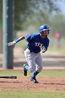 Texas Rangers outfielder Eduard Pinto (96) during an Instructional League game against the Cincinnati Reds on October 7, 2013 at Goodyear Training Complex in Goodyear, Arizona.  (Mike Janes/Four Seam Images)