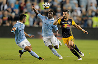 Kansas City, KS - Wednesday September 20, 2017: Benny Feilhaber, Latif Blessing, Felipe during the 2017 U.S. Open Cup Final Championship game between Sporting Kansas City and the New York Red Bulls at Children's Mercy Park.