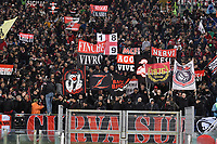 Milan supporters cheer thei team on aead of the Serie A 2018/2019 football match between SS Lazio and AC Milan at stadio Olimpico, Roma, November 25, 2018 <br />  Foto Andrea Staccioli / Insidefoto <br /> during the Serie A 2018/2019 football match between SS Lazio and AC Milan at stadio Olimpico, Roma, November 25, 2018 <br />  Foto Andrea Staccioli / Insidefoto
