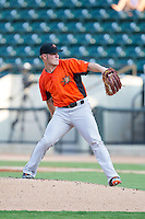 Frederick Keys starting pitcher Dylan Bundy (15) in action against the Winston-Salem Dash at BB&T Ballpark on July 29, 2014 in Winston-Salem, North Carolina.  The Dash defeated the Keys 4-0.   (Brian Westerholt/Four Seam Images)