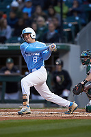 Ike Freeman (8) of the North Carolina Tar Heels follows through on his swing against the Charlotte 49ers at BB&T BallPark on March 27, 2018 in Charlotte, North Carolina. The Tar Heels defeated the 49ers 14-2. (Brian Westerholt/Four Seam Images)