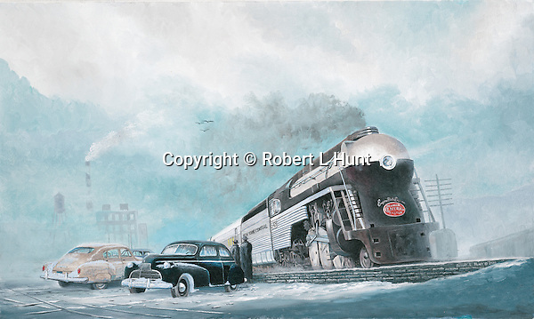 """The Empire State Express, famous passenger train of the New York Central Railroad in winter snow, circa late 1940's. Oil on canvas, 15"""" x 25'."""