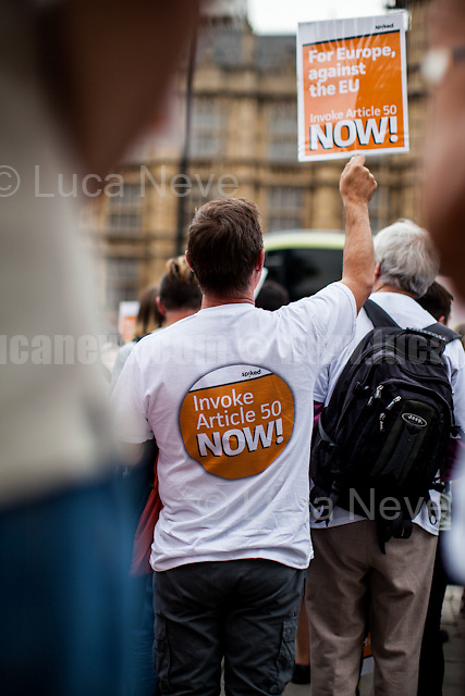 """London, 05/09/2016. Today, pro-Brexit """"Invoke Article 50 Now - a spiked campaign"""" held a demonstration in Old Palace Yard to call the British Conservative Government, lead by Theresa May, to invoke the Article 50 which will quickly activate the exit of Great Britain from the EU, also know as Brexit. From the organisers Facebook page: <<On Monday 5 September, MPs will debate the possibility of holding a second referendum on Britain's EU membership, in response to an online petition. Those calling for a second referendum hold democracy – and the demos – in contempt. They think the Brexit-voting public was fickle, stupid, easily led – and must be asked to vote again. The British elite is trying to use this as an opportunity to thwart the Brexit vote. We cannot let this happen. 17.4million people voted to leave the European Union. This is the biggest democratic mandate in British political history, and it must be respected. All democrats, whether you voted Leave or Remain, must demand the Brexit vote is upheld […]>>.<br /> <br /> For more information please click here: https://www.facebook.com/events/619857378191811/ & http://spiked-online.com/InvokeArticle50Now"""