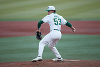 Charlotte 49ers relief pitcher Gus Hughes (53) in action against the Old Dominion Monarchs at Hayes Stadium on April 23, 2021 in Charlotte, North Carolina. (Brian Westerholt/Four Seam Images)