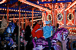 Christmas carousel turning in downtown Seattle at Westlake Mall.