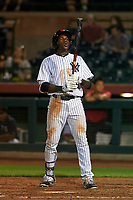 Scottsdale Scorpions right fielder Estevan Florial (19), of the New York Yankees organization, at bat during an Arizona Fall League game against the Peoria Javelinas on October 20, 2017 at Scottsdale Stadium in Scottsdale, Arizona. the Javelinas defeated the Scorpions 2-0. (Zachary Lucy/Four Seam Images)