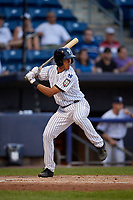 Staten Island Yankees Isaiah Pasteur (21) at bat during a NY-Penn League game against the Aberdeen Ironbirds on August 22, 2019 at Richmond County Bank Ballpark in Staten Island, New York.  Aberdeen defeated Staten Island 4-1 in a rain shortened game.  (Mike Janes/Four Seam Images)