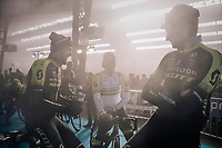 Luke Durbridge (AUS/Michelton-Scott), Alexander Edmondson (AUS/Michelton-Scott) & Lucas Hamilton (AUS/Mitchelton-Scott)  waiting (in the podium smoke) for the pre-race team presentation in the legendary Kuipke Velodrome<br /> <br /> <br /> Omloop Het Nieuwsblad 2018<br /> Gent › Meerbeke: 196km (BELGIUM)