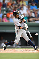 Designated hitter Vince Conde (17) of the Charleston RiverDogs bats in a game against the Greenville Drive on Thursday, July 27, 2017, at Fluor Field at the West End in Greenville, South Carolina. Charleston won, 5-2. (Tom Priddy/Four Seam Images)