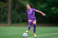 SANFORD, FL - APRIL 3: Phoebe McClernon of the Orlando Pride dribbles the ball during a game between Florida State Seminoles and Orlando Pride at Sylvan Park Training Center on April 3, 2021 in Sanford, Florida.