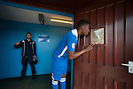 Lowestoft Town 2 Barrow 3, 25/04/2015. Crown Meadow, Conference North. Barrow make the six-hour trip to Suffolk needing a win to secure the title. Curtis<br /> Haynes-Brown eyes up the opposition from the changing rooms. Photo by Simon Gill.