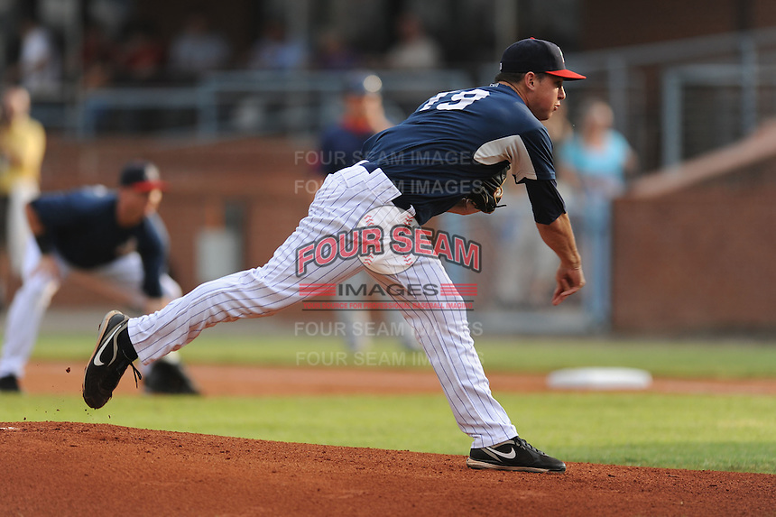 Chris Balcom-Miller during a game against the Greenville Drive at McCormick Field Asheville, NC August 12, 2010. Asheville won the game 7-2.