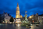 Belgium, Antwerp: Night shot of the Grote Markt and the Cathedral