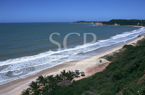 Pipa, Northeast Brazil. View over unspoilt beach in sandy bay with palm thatched beach bar and cliffs covered in shrubbery.