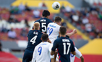 GUADALAJARA, MEXICO - MARCH 18: Mauricio Pineda #5 of the United States with a clearing head ball during a game between Costa Rica and USMNT U-23 at Estadio Jalisco on March 18, 2021 in Guadalajara, Mexico.