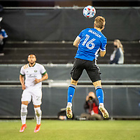 SAN JOSE, CA - MAY 15: Jack Skahan #16 of the San Jose Earthquakes heads the ball during a game between San Jose Earthquakes and Portland Timbers at PayPal Park on May 15, 2021 in San Jose, California.