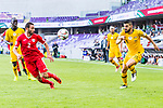 Feras Zeyad Shilbaya of Jordan (L) fights for the ball with Aziz Behich of Australia (R) during the AFC Asian Cup UAE 2019 Group B match between Australia (AUS) and Jordan (JOR) at Hazza Bin Zayed Stadium on 06 January 2019 in Al Ain, United Arab Emirates. Photo by Marcio Rodrigo Machado / Power Sport Images