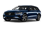 Stock pictures of low aggressive front three quarter view of 2021 Volvo V60 R-Design 5 Door Wagon Low Aggressive