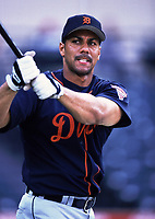 Juan Gonzalez of the Detroit Tigers during a 2000 season MLB game at Angel Stadium in Anaheim, California. (Larry Goren/Four Seam Images)